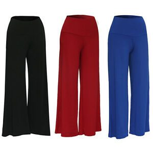 Womens-Palazzo-Wide-Leg-Trousers-Ladies-Plain-Flared-Legging-Pant-Plus-Size