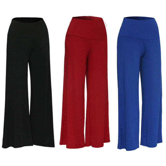 Womens Palazzo Wide Leg Trousers Ladies Plain Flared Legging Pant Plus Size