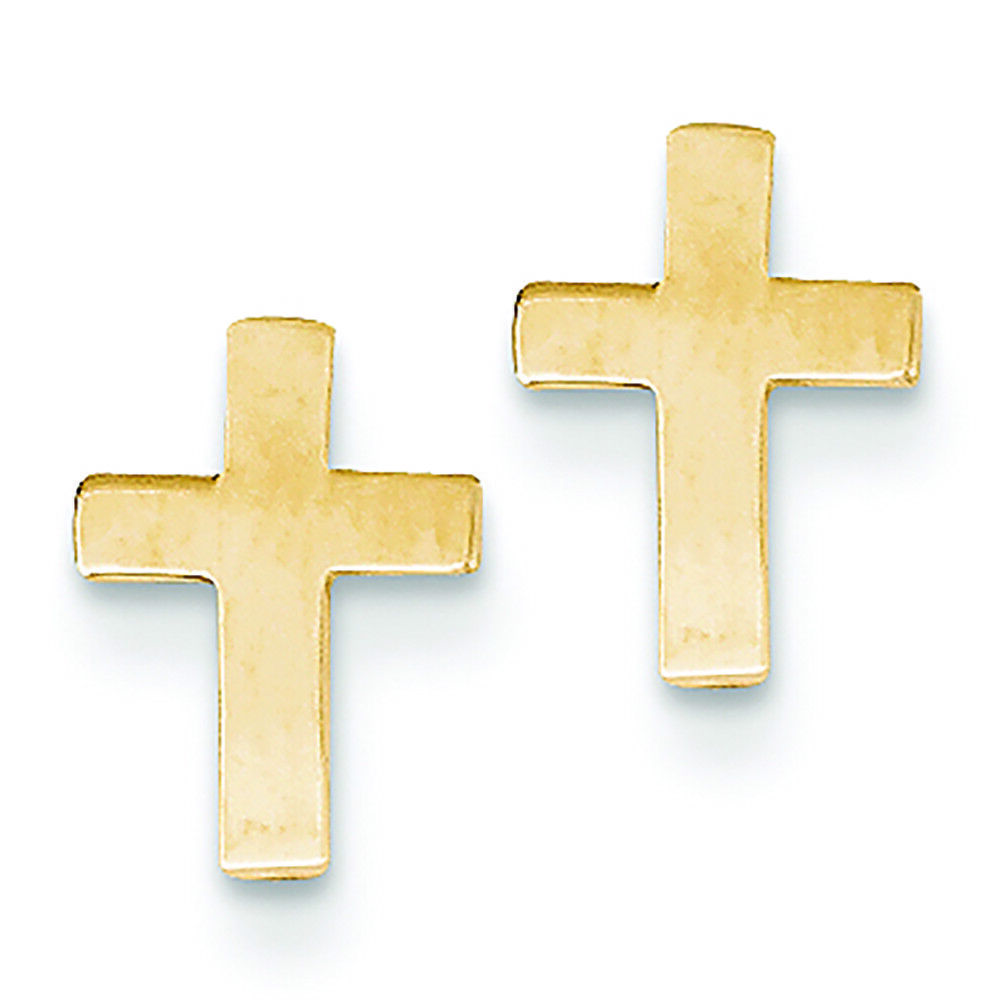14K Yellow gold Cross Stud Post Earrings MSRP  142