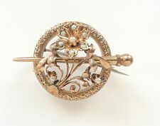 Antique Ornate Victorian Rolled Gold Seed Pearl Brooch Pin Floral Signed RG