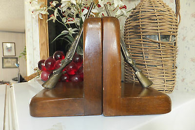 Vintage Wooden Rifle Book Ends, Cornwall Products, Paris, Maine