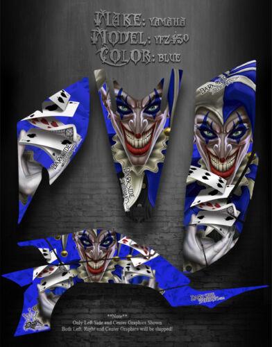 "YAMAHA YFZ450 ATV GRAPHICS /""THE JESTERS GRIN/"" BLUE MODEL"
