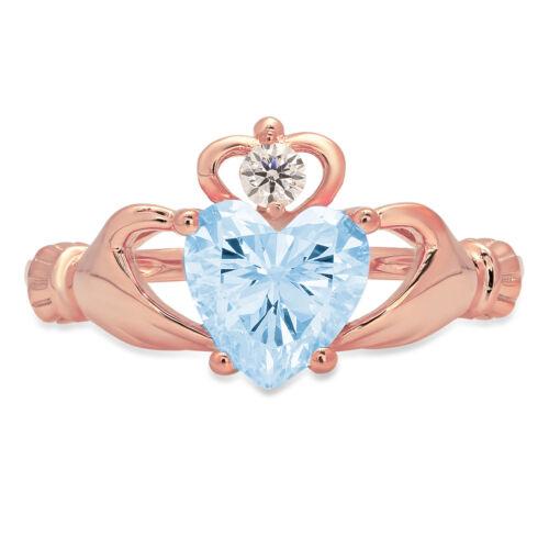 Details about  /1.55 Heart Irish Celtic Blue Stone Promise Bridal Wedding Ring 14k Rose Gold