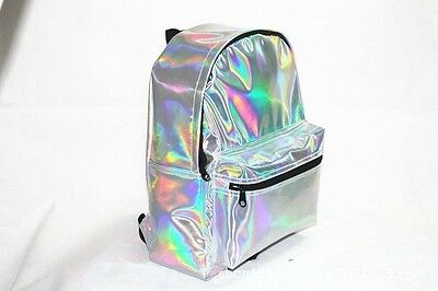 New Women Girl Fashion Hologram Holographic Backpack PVC Leather School Tote Bag