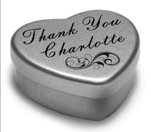 Vous dire merci Charlotte avec un mini coeur tin cadeau présent avec chocolats