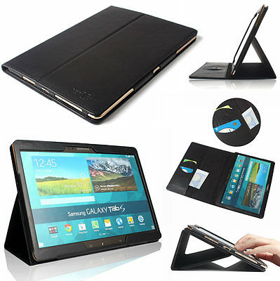 "Samsung Tab S 10.5"" T800 T805 Real Genuine Leather Portable Case Magnetic Cover"