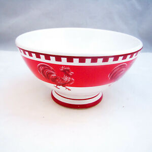 Williams-Sonoma-Portugal-RED-ROOSTER-Footed-Cereal-Bowl-s-READ