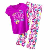 Girls 4 5 Xs Purple Peace T Shirt Plush Fleece Pajama Set Pajamas Clothes