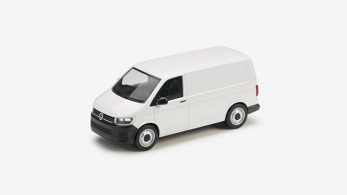 VERY RARE VW T6 7E TRANSPORTER VAN 2018 CANDY WHITE 1 87 HERPA (DEALER MODEL)