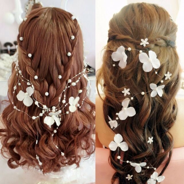 White Flower Crystals Pearls Beads Bridal Wedding Headpiece Hair