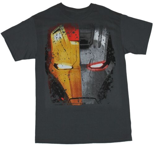 Mens T-Shirt Iron Man Half War Machine Iron Man Distressed Marvel Comics