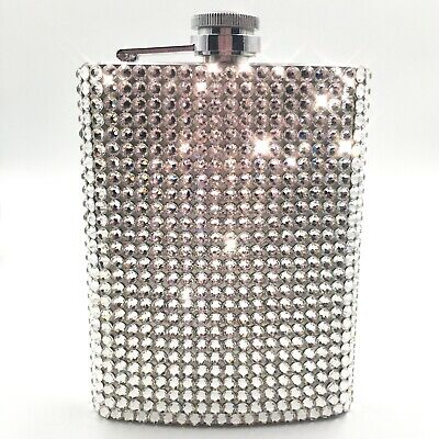 Upcycled Hip Flask with glittery Metallic silver colour Lace Trim Blinged