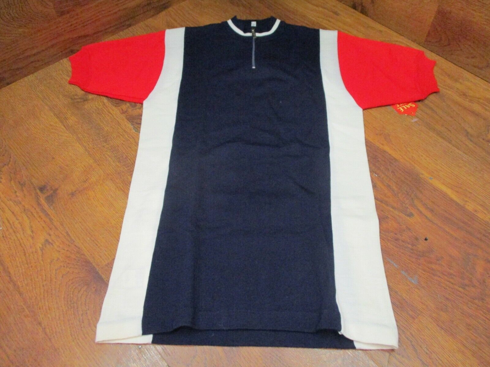 VINTAGE SANTINI WOOL  BLEND 1 4 ZIP CYCLING JERSEY - RED WHITE blueE 2  2018 store
