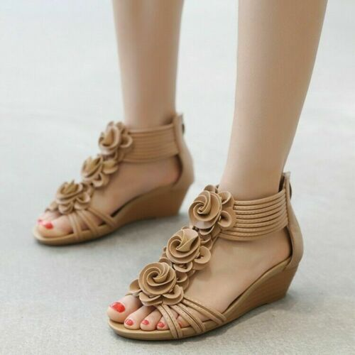 Details about  /Summer Womens Roman Ankle Strap Zip-up Peep Toe Sandals Wedges Mid Beach Shoes