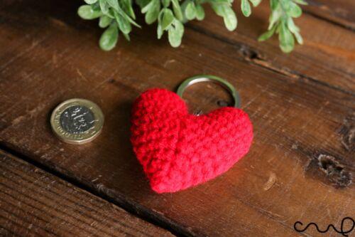 HANDMADE Crochet Rojo Corazón Llavero Fob Amigurumis Clave Cubierta Soporte Regalo San Valentín