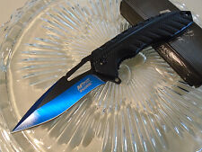 Mtech Ballistic Assisted Open Blue Tini Black Tactical Pocket Knife A930BL New