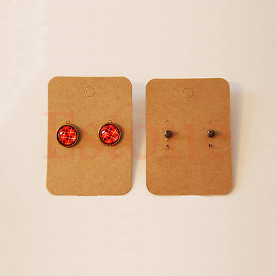 100pcs Professional Type Earring Ear Studs Holder Display Hang Kraft Paper Cards