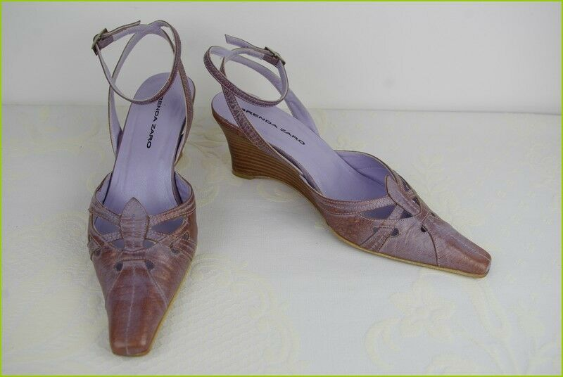 Court shoes Wedge Heels BRENDA ZARO Leather Bronze Mauve T 39