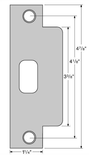Lot of 3 Brushed Stainless Strike Plate ASA ANSI Metal Door Prep 1 1//4 X 4 7//8