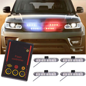 Vehicle Strobe Lights >> Details About 16led Red Blue Flash Light Dash Emergency Vehicle Strobe Lights For Grille Deck