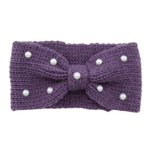 New Women Crochet Elastic Hair Band Wool Bend Pearls Knot Wrap Turban Headband