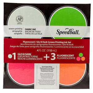 Speedball : Glo n' Dark & Fluorescent Fabric Screen Printing Ink Se : Set of 651032450273