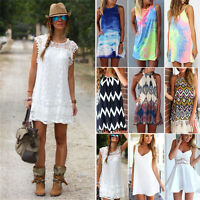 Sexy Damen Ärmellos BOHO Mini Kleid Partykleid Strandkleid Sommer Badebekleidung