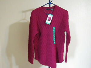 a7e1f2ddbe NWT Jeanne Pierre Womens L S Cable Knit Sweater-Color-Red Currant ...
