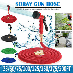 Details About 25 50 100 150 200 Feet Expandable Flexible Garden Water Hose Spray Nozz