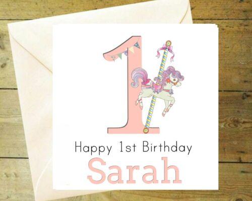 Personalised horse carousel glitter card greeting birthday 1 2 3 4