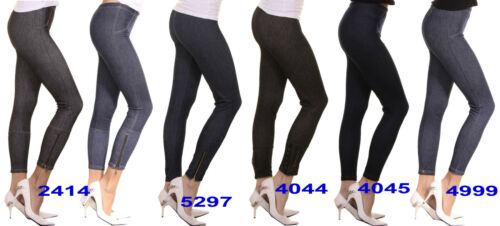 Damen Leggings SLIM Jeggings Skinny Stretch Hose Jeans-Look Röhre Treggings Lang