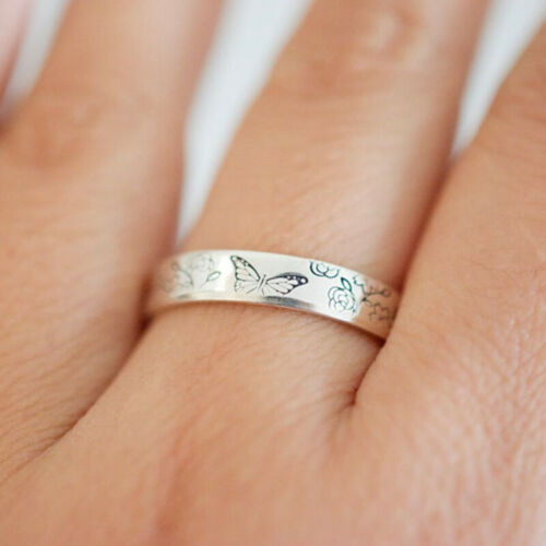 Women Fashion Trend 925 Silver Simple Butterfly Flower Round Ring Jewelry Gift