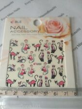 Nail tip Art stickers transfer Wrap water decals Pink Red Black Cat Manicure M66