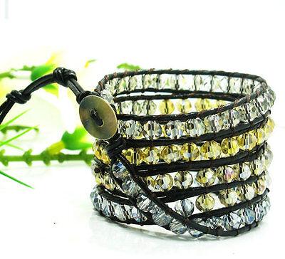 Charm rock AB crystal & color crystal beads on black leather 5 wrap bracelet W34