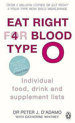 1 of 1 - Eat Right for Blood Type O: Individual Food, Drink and Supplement-ExLibrary