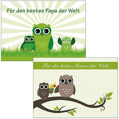 2 Postkarten Eulen Muttertag beste Mama Papa der Welt  Mutter Vatertag Grußkarte