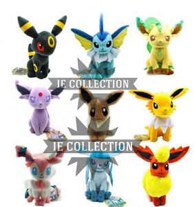 Peluche Pokemon Eevee Evolutions 9 Vaporeon Umbreon Sylveon Evoli Plush