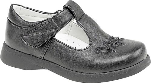 Boulevard Faux Leather Girls Touch Fasten T-Bar School Shoes Black Patent