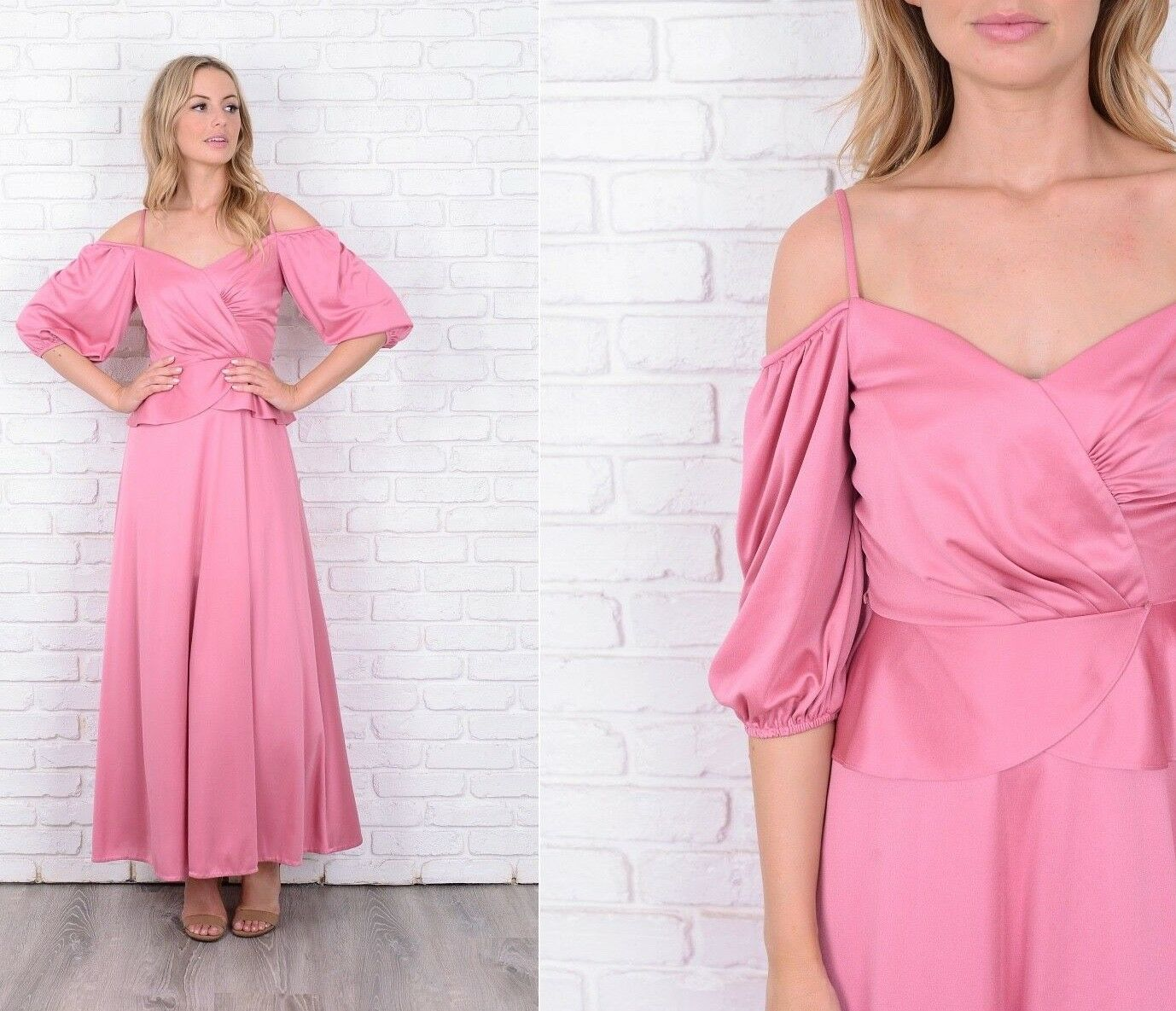 Vintage 70s Pink Boho Dress Off shoulder Peplum Maxi Hippie XS