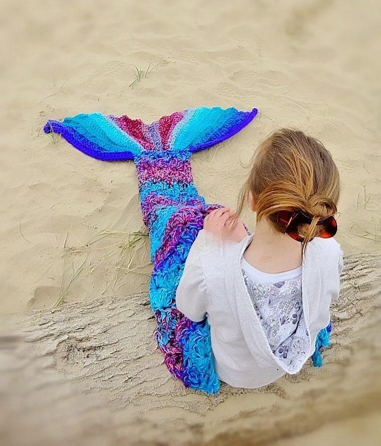 Crochet mermaid Blanket Chunky Handmade baby-adult  gift gir her brand new UK