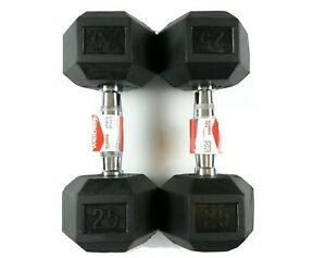 NEW Weider 25lb Dumbbells Pair Rubber Coated Hex Set 50lb Total Free Shipping