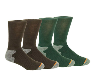 4 Pairs Men's Weatherproof Socks Wool Blend Outdoor Crew Socks Brown Olive