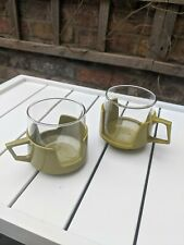 Vintage 60s 70s Pyrex Cups Mugs Glasses Green Homeward Kitchen Camping Kitsch