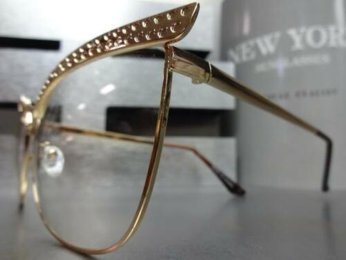 Classy Elegant RETRO Cat Eye Style Clear Lens Eye Glasses Large Rose Gold Frame