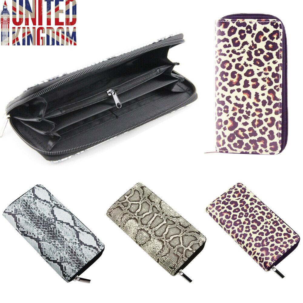 Leather Animal Print Long Purse Leopard Wallet Serpentine Zipper Clutch Handbag