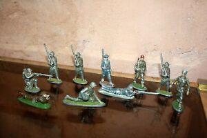 Quiralu Lot 10 Soldat Ww1 Ww2 Personnages Années 50 Aluminium Combat ...