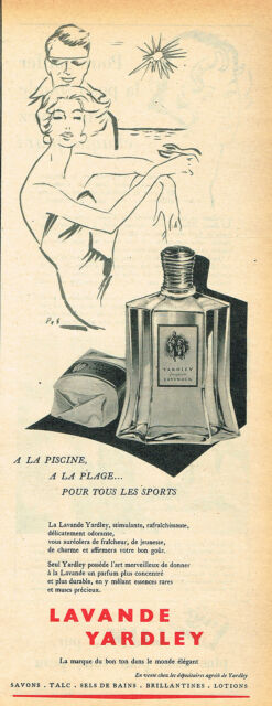 PUBLICITE ADVERTISING 025  1955  LAVANDE YARDLEY   eau de Cologne