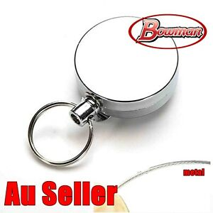 Silver-Metal-Chain-Retractable-Pull-Key-Ring-Belt-Clip-Steel-Id-Card-Holder
