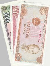 3 Banknoten 200/500/1000 Dong 1987/88 Vietnam Lot Konvolut Papiergeld Bank Asien