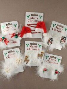 Christmas-Hair-Sleepies-Bendies-Snap-Clips-Grips-Assorted-Designs-Red-White-5cm